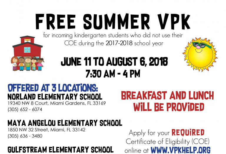2018 Free Summer VPK flyer