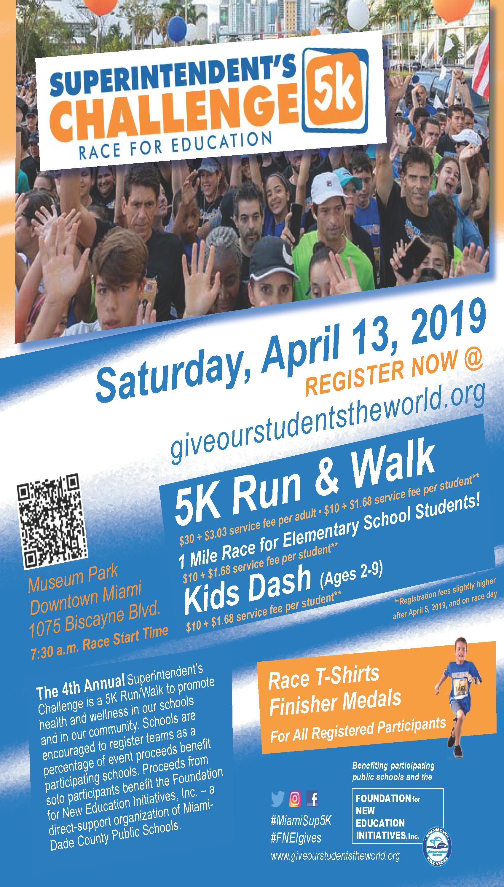 2019 Superintendent's 5K Run/Walk Race for Education @ Museum Park